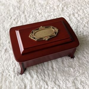 Vintage Solid Wood Musical Jewelry Box